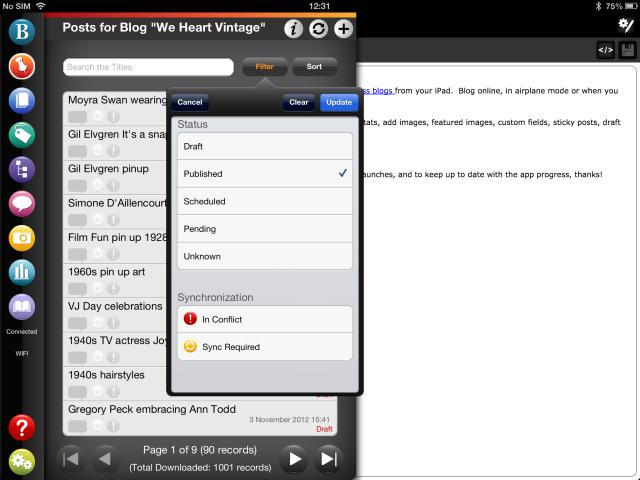WordPress post filtering in BlogPad Pro