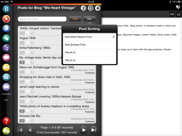 WordPress post sorting in BlogPad Pro