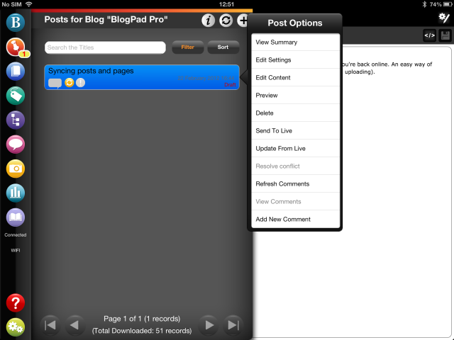 Sync your post or page using BlogPad Pro
