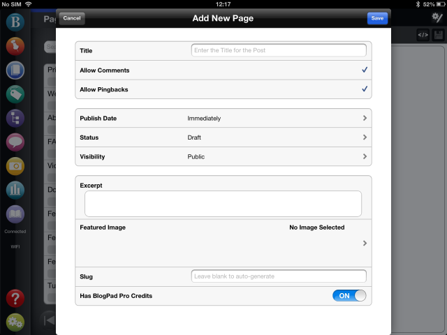 Creating a new page in WordPress with BlogPad Pro for iPad