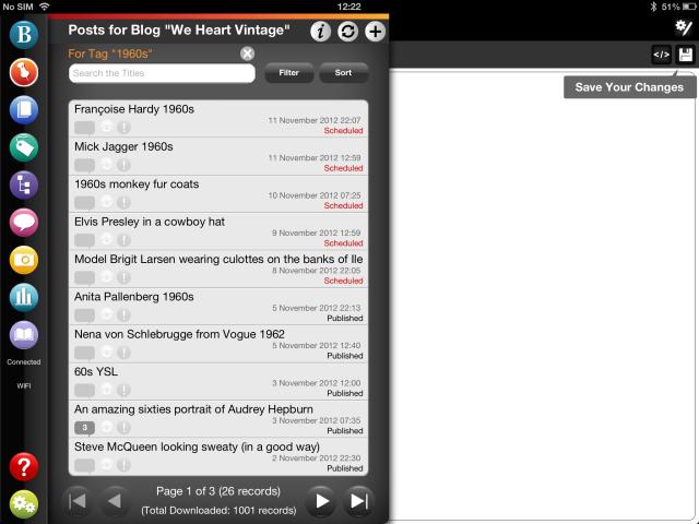 WordPress blog tags on BlogPad Pro for iPad