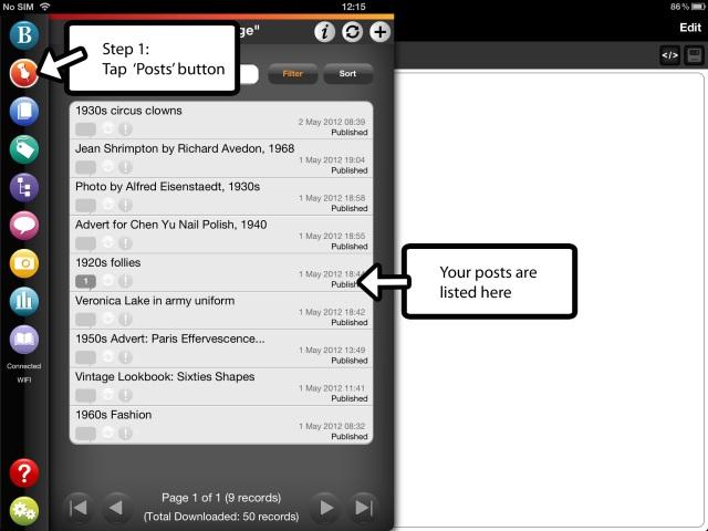 Editing a WordPress post on BlogPad Pro for iPad, step 1