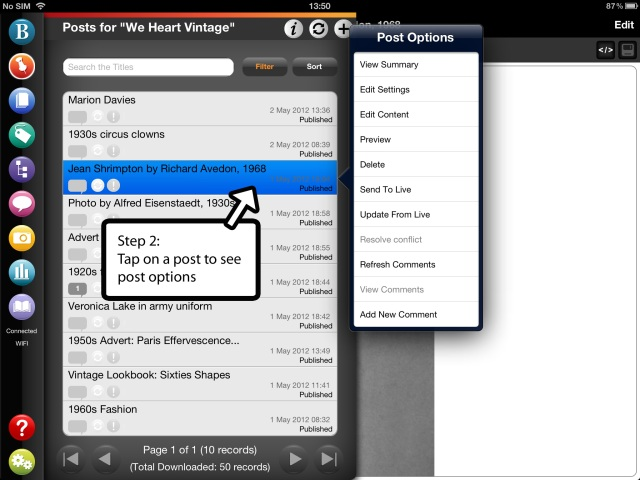 Editing a WordPress post on BlogPad Pro for iPad, step 2