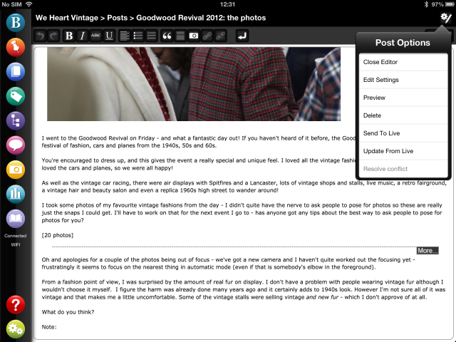 WYSIWYG blog editing ipad