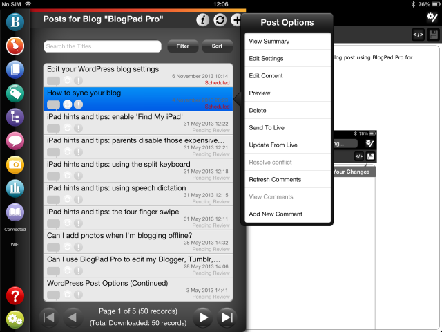 Post preview on BlogPad Pro