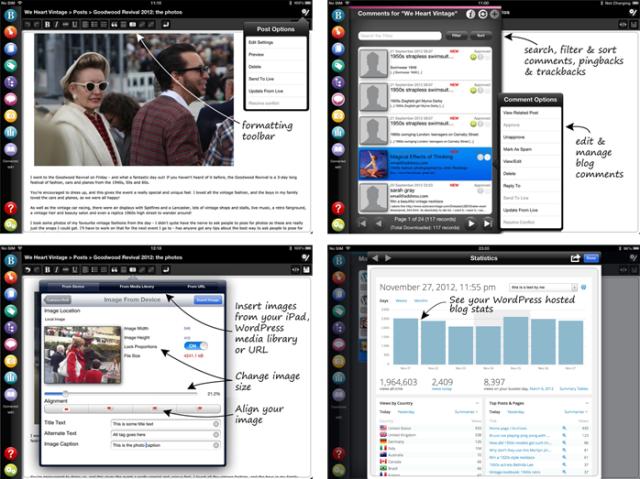 screenshots of BlogPad Pro app for iPad