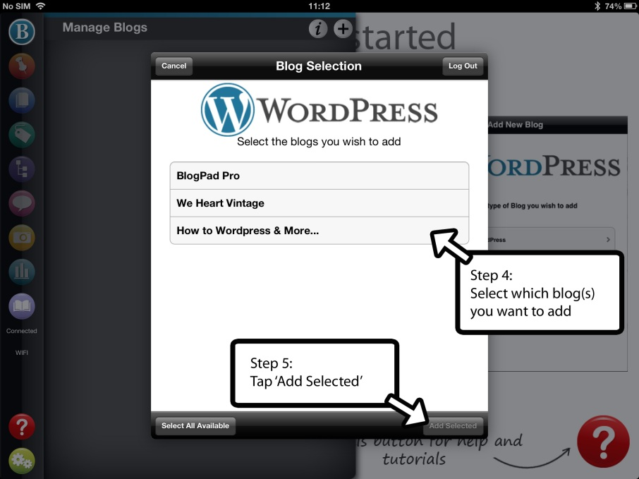 adding your WordPress blog to BlogPad Pro step 1