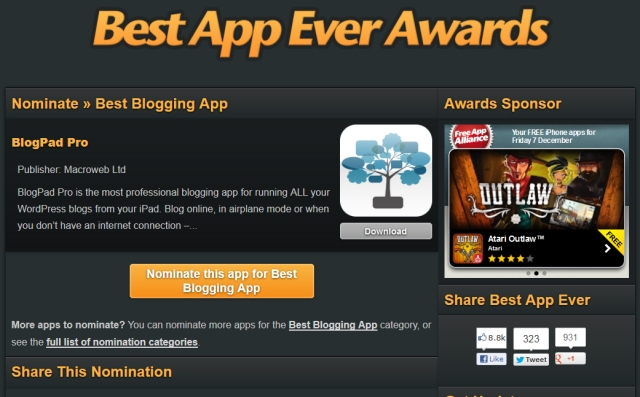 best blogging app award