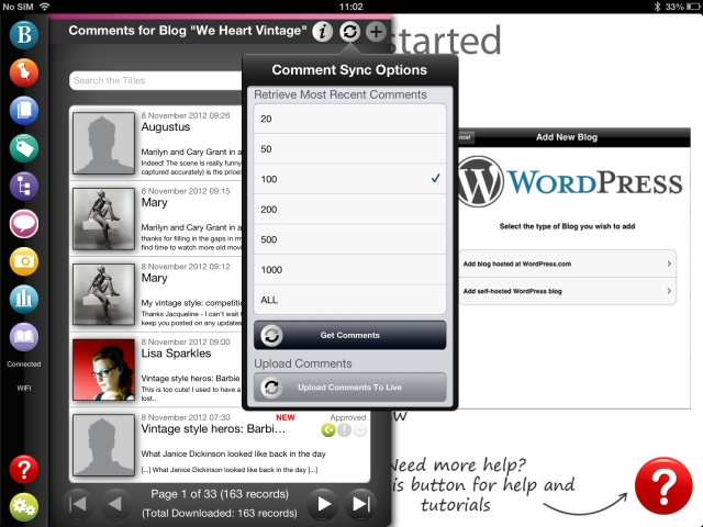 oad comments using BlogPad Pro