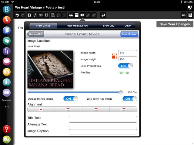 Link to hi-res image in WordPress iPad app