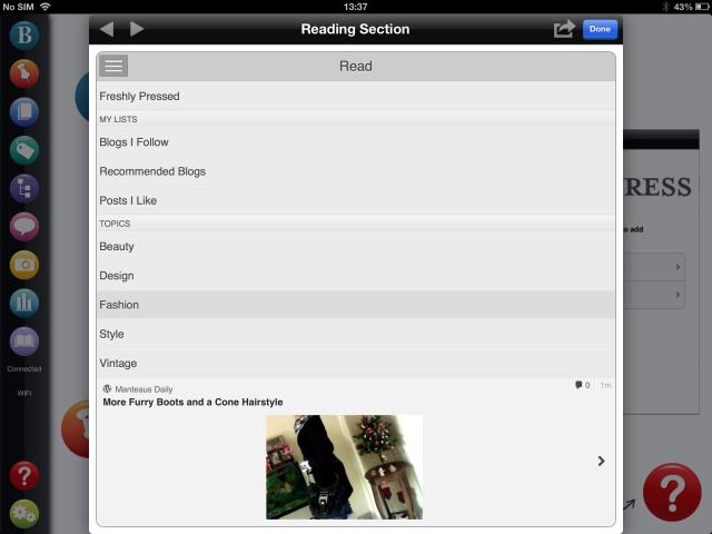 BlogPad Pro screenshot reading blogs