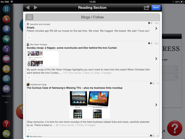 BlogPad Pro screenshot reading blogs