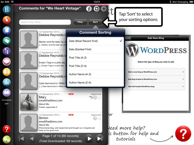 Sorting WordPress blog comments on BlogPad Pro for iPad
