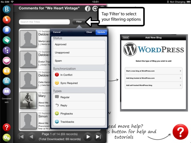 Filtering WordPress blog comments on BlogPad Pro for iPad
