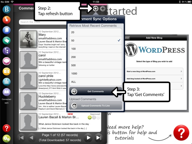 Manage WordPress blog comments with BlogPad Pro for iPad steps 2 & 3