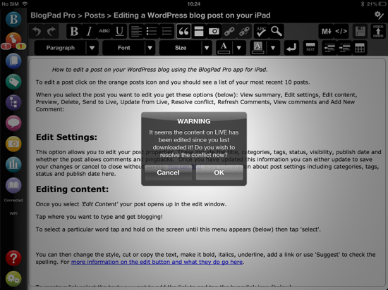 Warning message BlogPad Pro