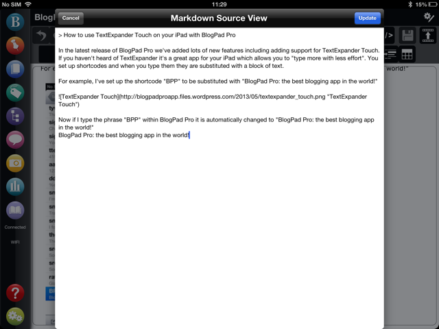 Markdown Mode for blog editing with BlogPad Pro