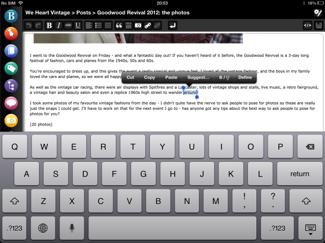 Editing your WordPress post wysiwyg iPad app