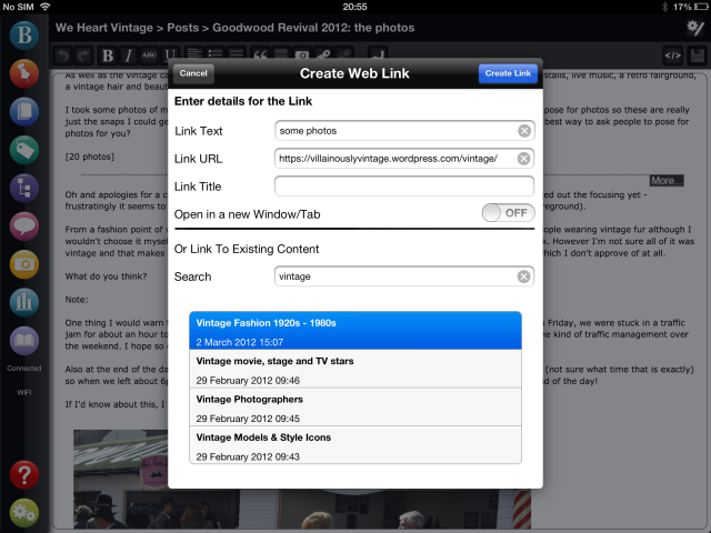 Editing your WordPress post wysiwyg iPad app