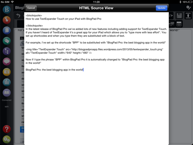 TextExpander Touch in html Mode for blog editing