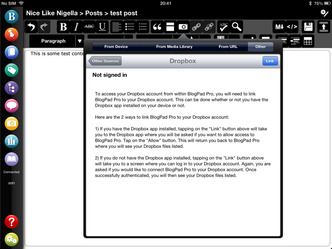 Dropbox on BlogPad Pro for WordPress