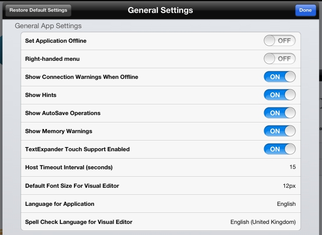 BlogPad Pro general settings